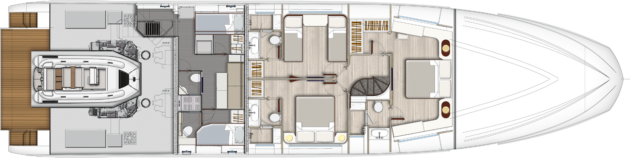 Lowerdeck - 4 cabins layout