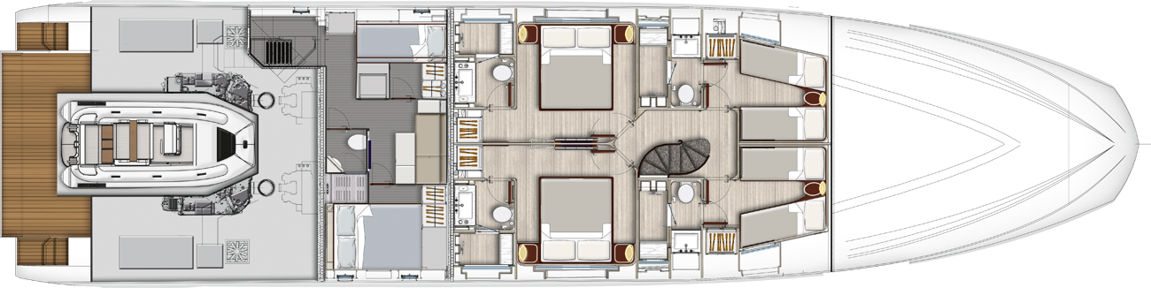 Lowerdeck - 5 cabins layout (OPT)